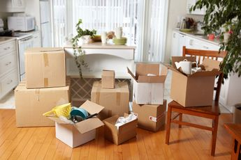 student boxes at home